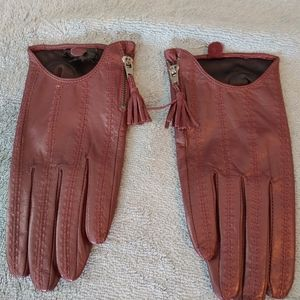 Leather driving gloves, M, burgundy
